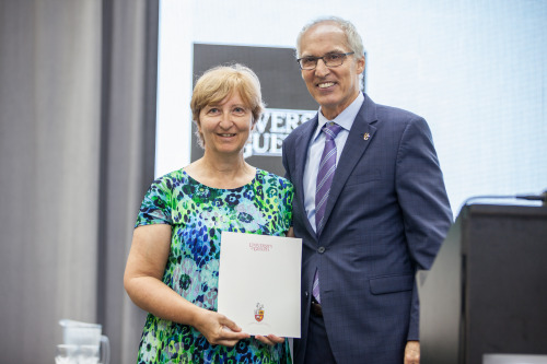 Betty-Anne McBey (left)  with Dr. Franco Vaccarino (right) U of G President and Vice-Chancellor