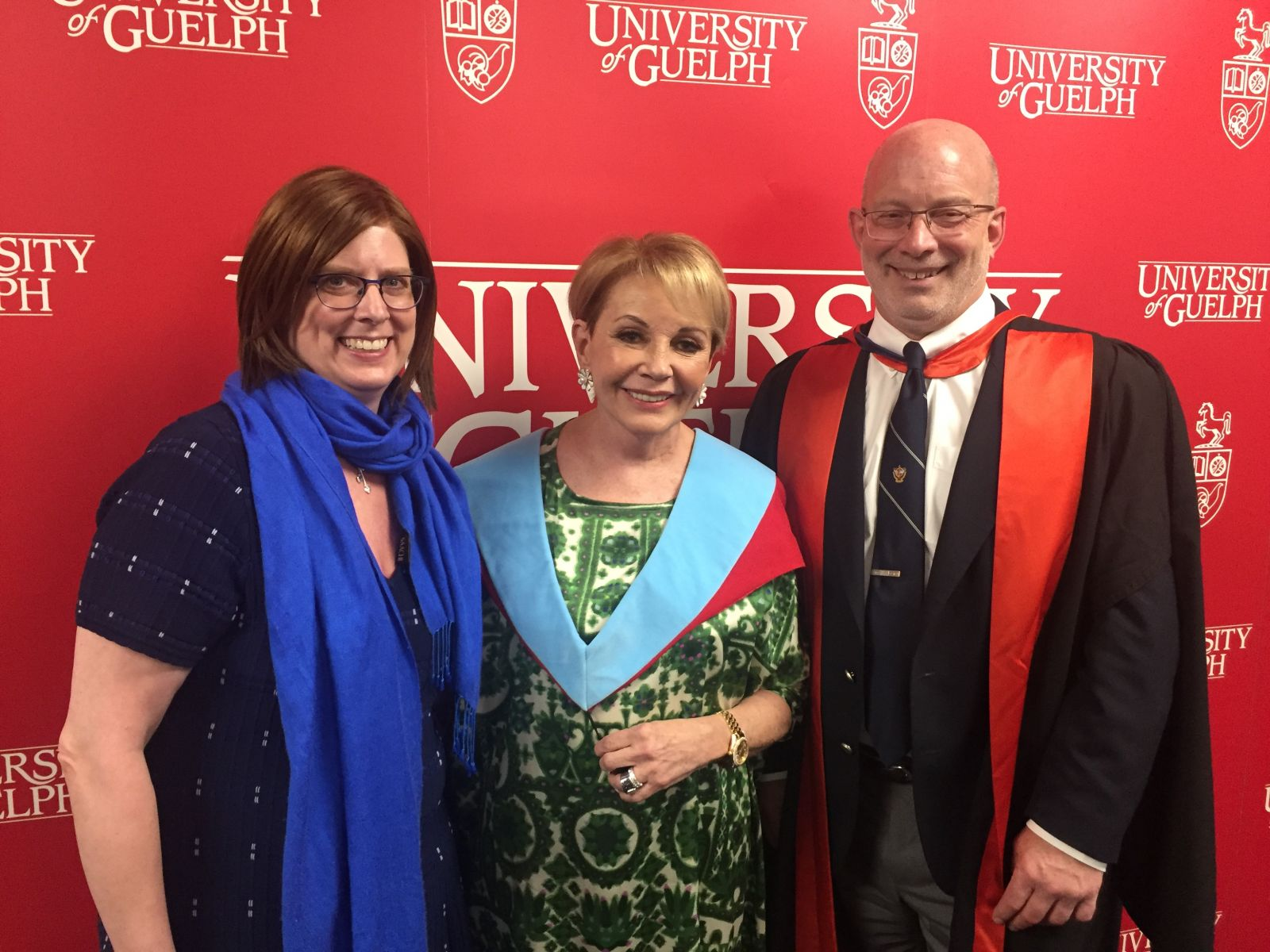 Emmanuelle Gattuso, centre, with Stephanie Nykamp, OVC Associate Dean Clinical Program, on the left and OVC Dean Jeff Wichtel, on the right