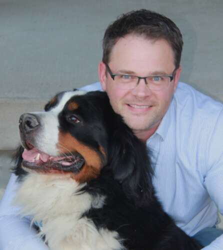 Dr. Jason Coe, Ontario Veterinary College, University of Guelph, with his dog Harley.