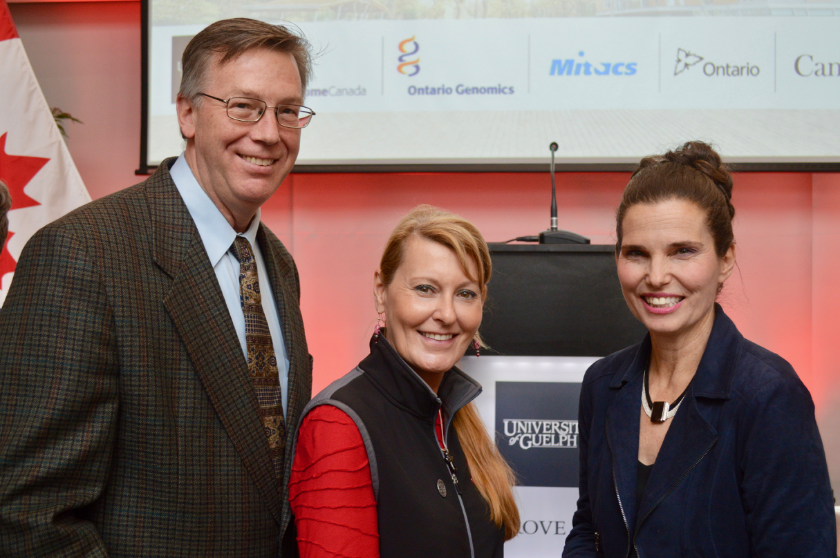 Mike Lohuis, Vice President, Genetics R&D, Semex Alliance, Prof. Bonnie Mallard, Ontario Veterinary College, University of Guelph, The Honourable Kirsty Duncan, minister of science and sport.