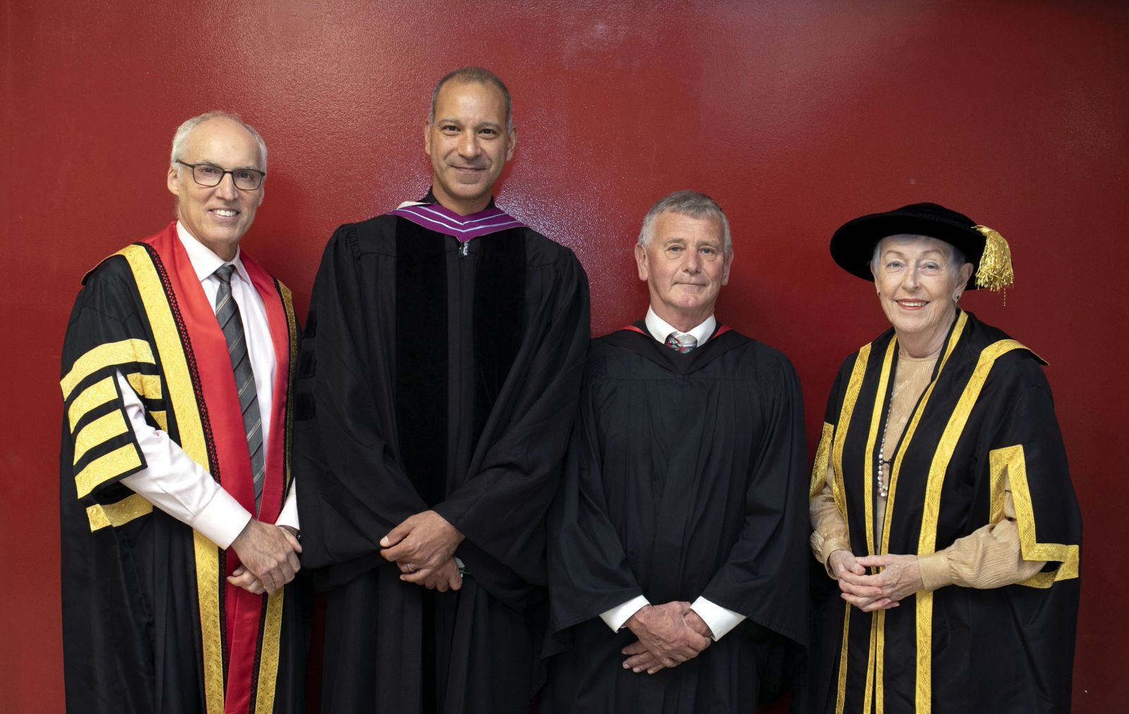 From left, U of G President Franco Vaccarino, Prof. Tarek Saleh, Chair of the Department of Biomedical Sciences, University of Guelph, Prof. Allan King, University Professor Emeritus, and U of G Chancellor Martha Billes.