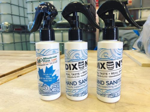 Photo of hand sanitizer (photo courtesy of Dixon's Distillers)